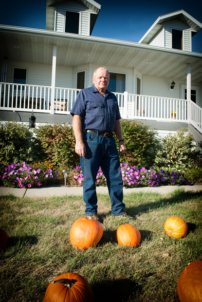 Wes Meidinger stands in front of his home in North Dakota - he was the last to see Kristin Joy Diede and Robert Michael Anderson.