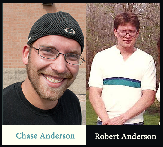 Chase Anderson 2015 and his father Robert Anderson in a photo taken around 1990